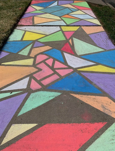 Chalk drawing on driveway