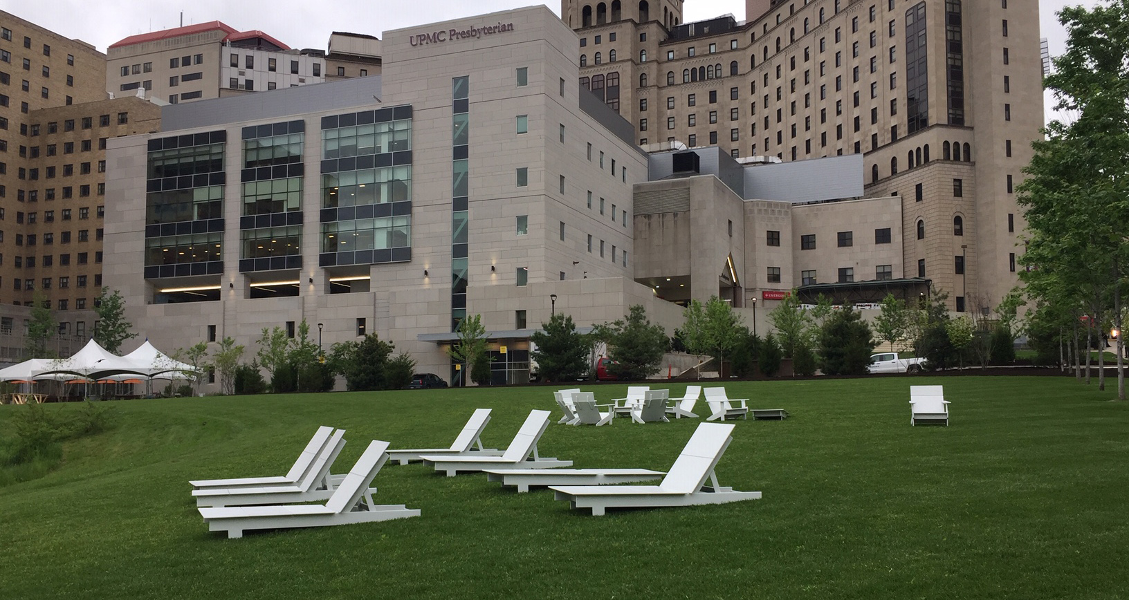 Chairs outside UPMC Presby