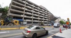 Barricades around O'Hara Garage and LRDC building