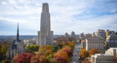 Fall in Oakland with Cathedral of Learning