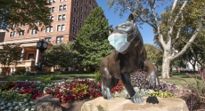 Panther statue with mask