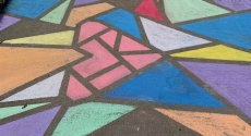 Chalk art on driveway