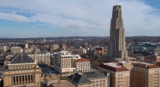 Cathedral of Learning from hill behind Soldiers & Sailors