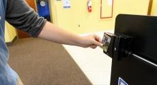 Student swipes at ID reader