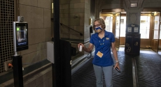 Provost Cudd with mask inside Cathedral