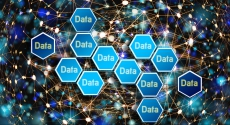 The word Data in multiple hexagons