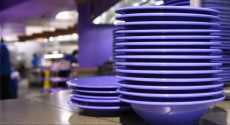 Purple plates at Market Central