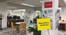 Construction in Falk Library