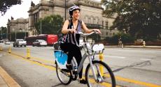 Woman on bike near Carnegie Library