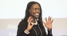 Dean Valerie Kinloch gesturing with hands