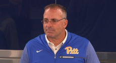 Pat Narduzzi at podium