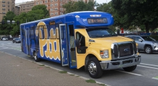 Pitt shuttle bus on Forbes Avenue