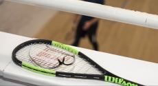 Squash racket overlooking court