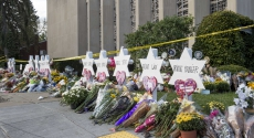 Memorials to the dead outside Tree of Life synagogue last year