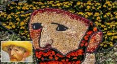 Van Gogh self-portrait in flowers