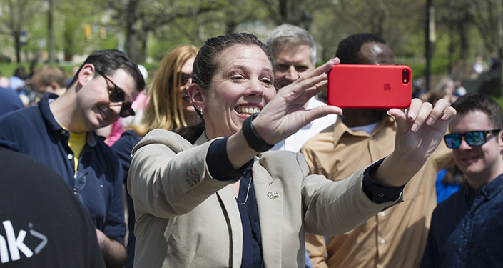 Amy Kleebank takes a selfie with the chancellor