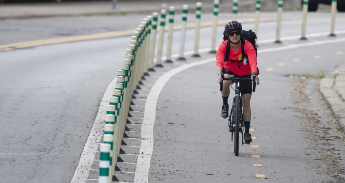 Rider in bike lane