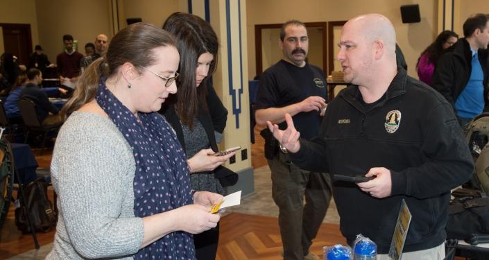 Patrick MIgnogna greets visitors