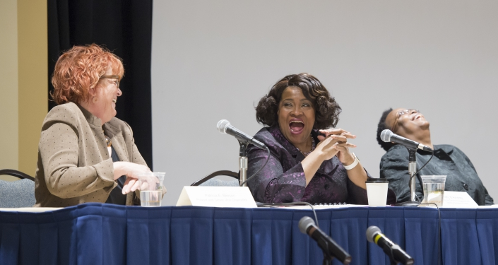Patricia E. Beeson, Kathy W. Humprhey, Geovette Washington discussed their experiences in their positions in leadership at 'Spotlight on Women Leaders at Pitt.'