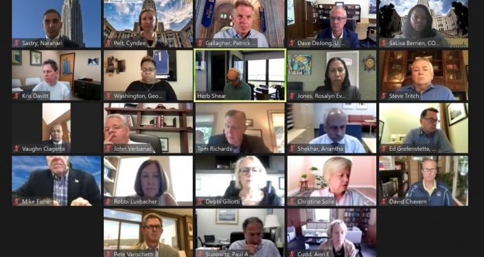 Grid of people on Board of Trustees zoom meeting