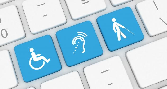 Keyboard with disability symbols on keys