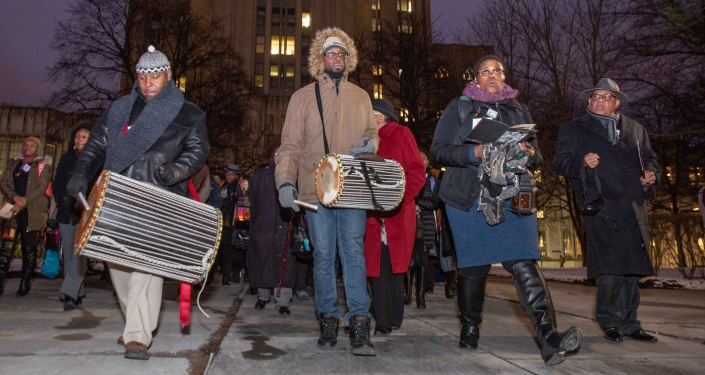 People marching with drums