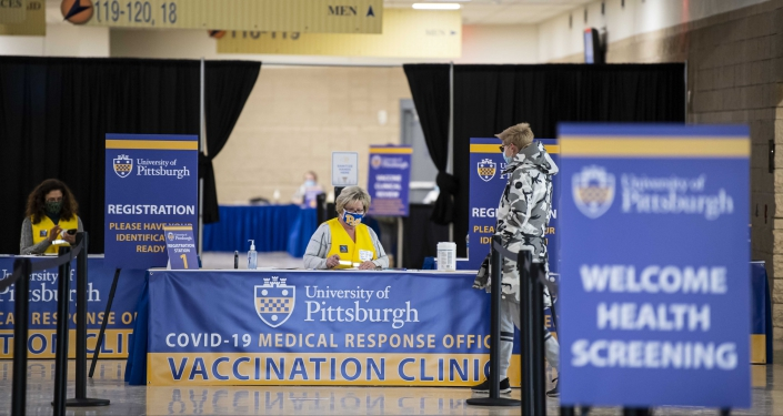 Check-in desk at vaccination clinic