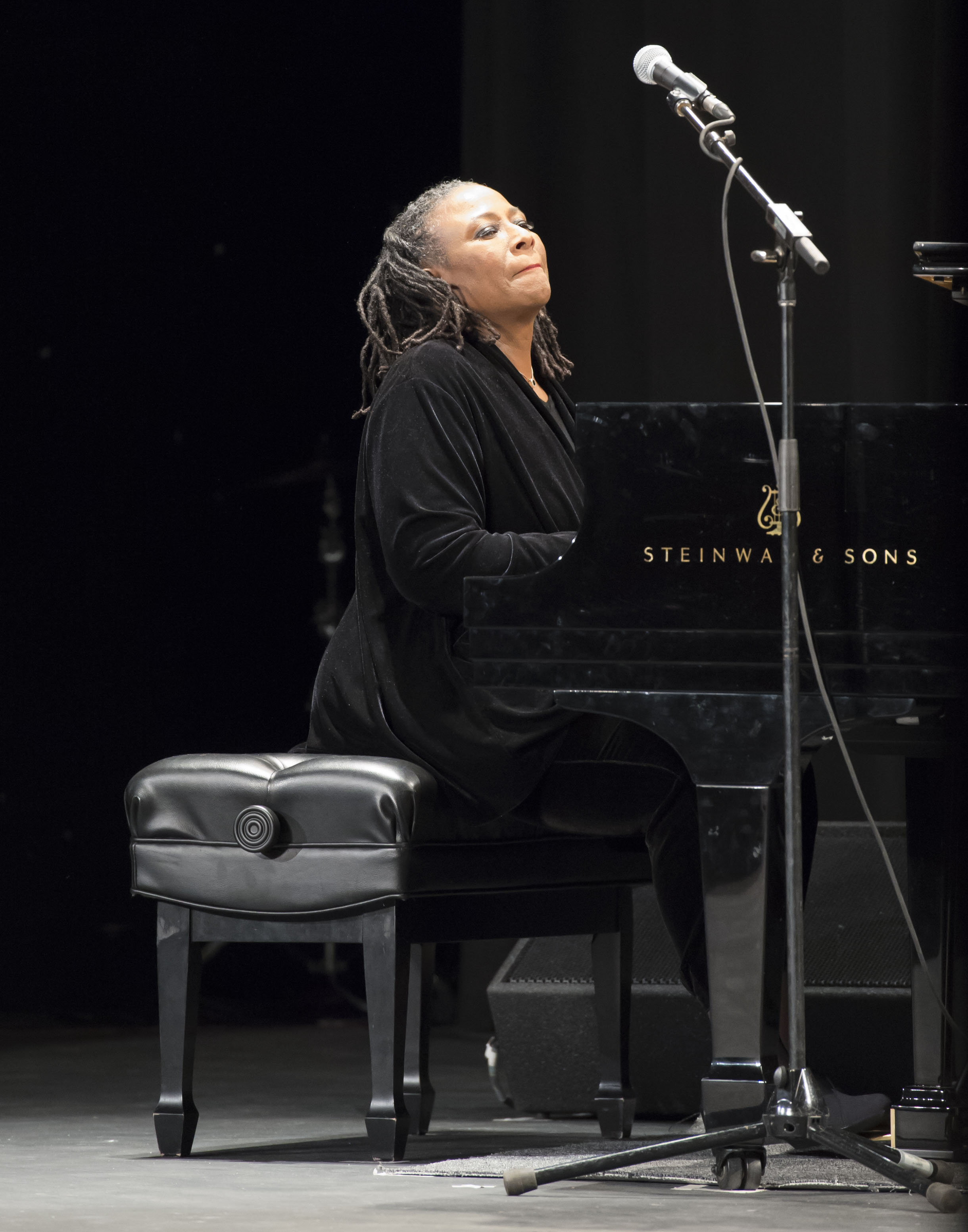 Geri Allen playing piano