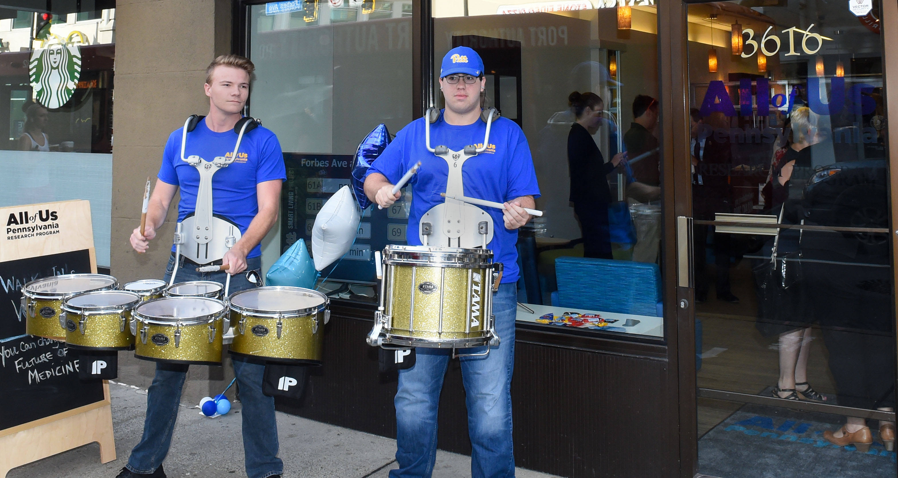 Drummers outside office