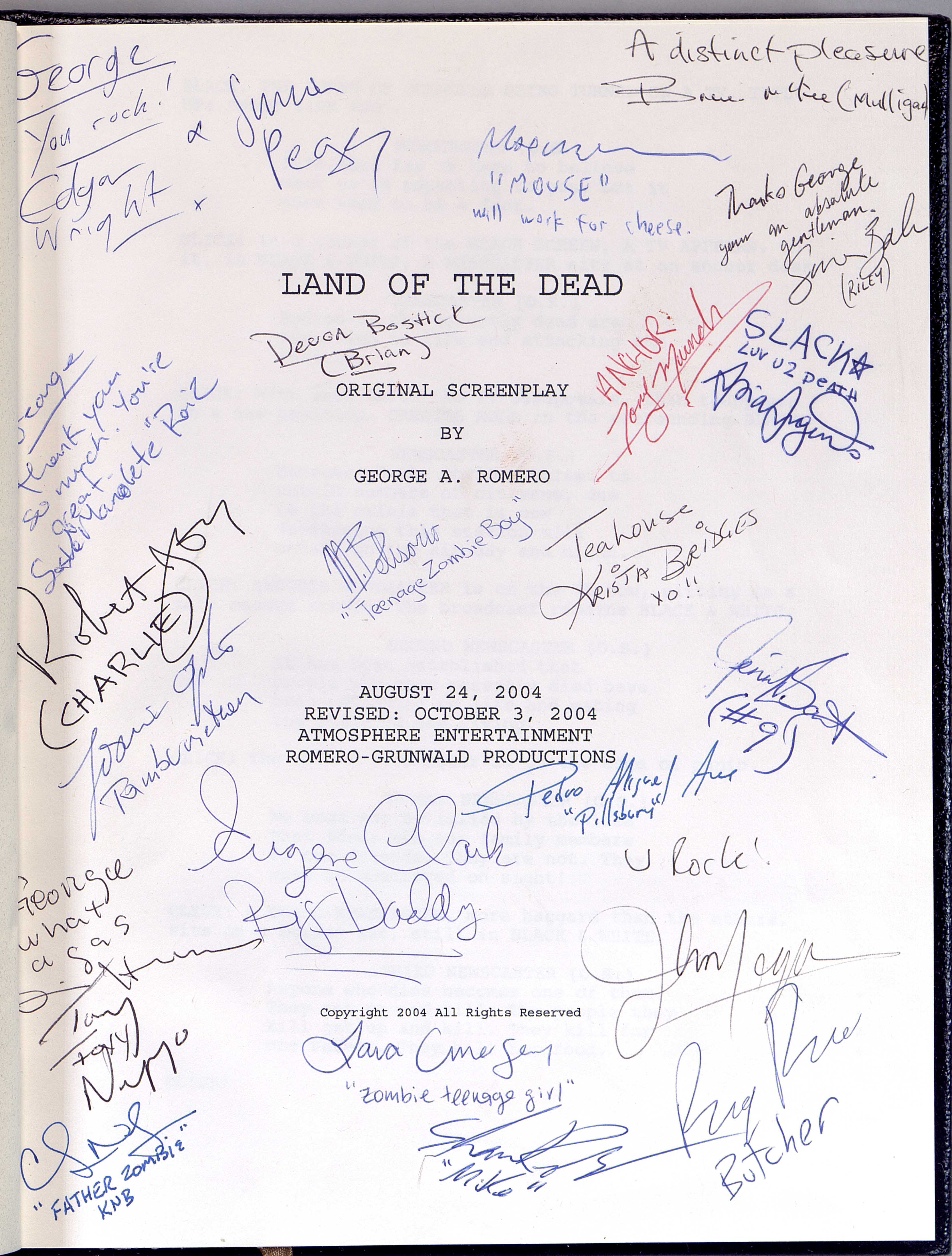 Script from Land of the Dead