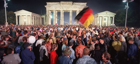 Germans at the Brandenburg Gate in Berlin.
