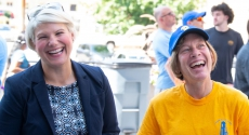 Dean Panzella and Provost Cudd laughing