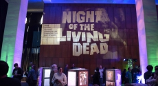 "Projection of ""Night of the Living Dead"" on wall"