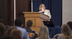 Provost Ann E. Cudd talks to new faculty