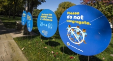 Signs encouraging social distancing