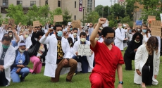 Doctors and others protest outside UPMC Presbyterian in early June