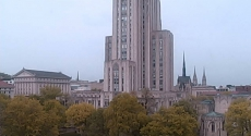 View from Hillman Library webcam of the Cathedral of Learning