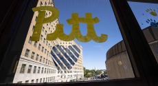 Love Pitt drawn on Forbes walkway window