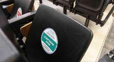 Classroom seats marked for social distancing