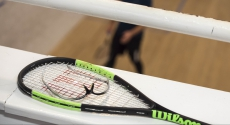 Squash racket overlooking court