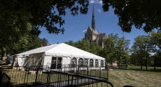 Tent with Heinz Chapel in background