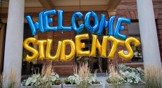 Welcome Students spelled out in balloons