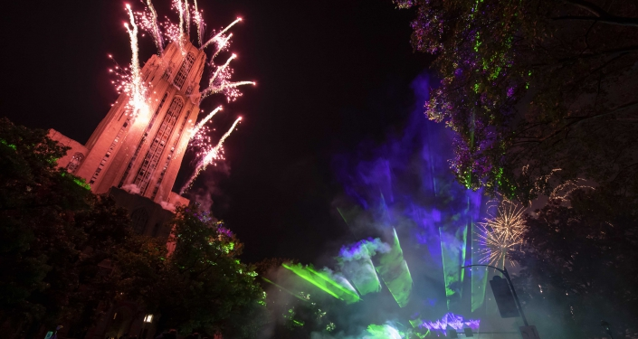 Fireworks over the Cathedral of Learning
