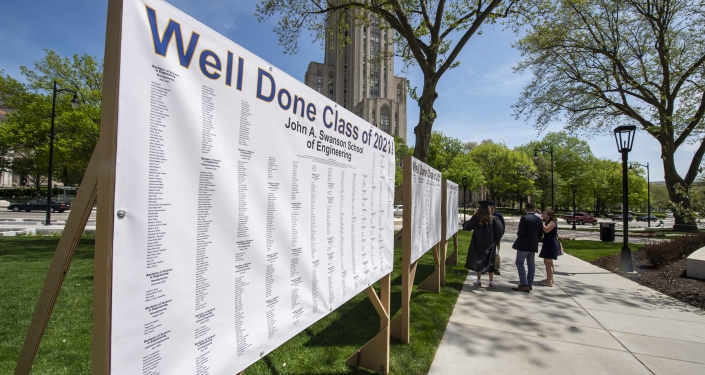 Signs with names of graduates
