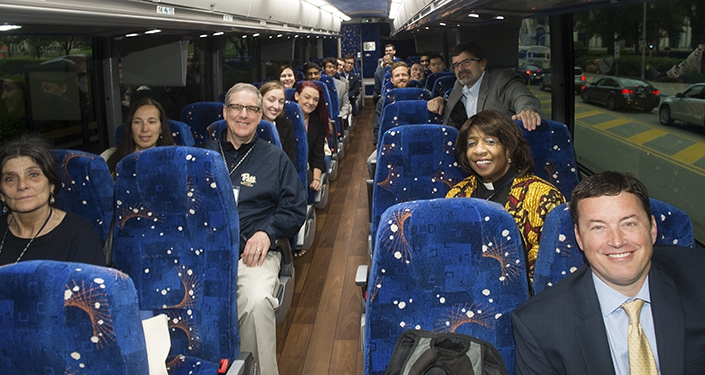 Staff, faculty ride bus to state capitol for Pitt Day in Harrisburg