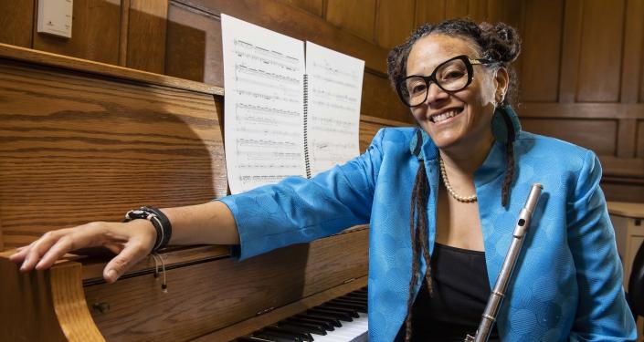 Nicole Mitchell at piano